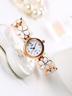 Gold and White Gold Plated Band Bracelet Rhinestone Quartz Watch