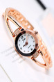 Gold Plated Gold Plated Band Rhinestone Bracelet Quartz Watch