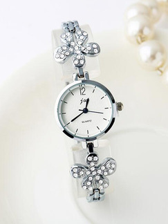 Silver Silver Plated Band Rhinestone Bracelet Quartz Watch