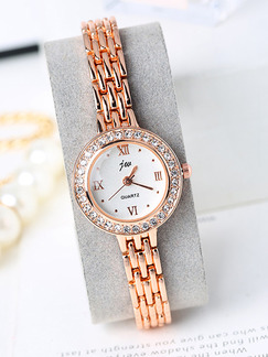Bronze Bronze Plated Band Rhinestone Bracelet Quartz Watch