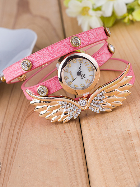 Pink Leather Band Rhinestone Bracelet Quartz Watch