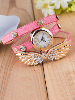 Pasabuy Pink Leather Band Rhinestone Bracelet Quartz Watch