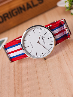 Red White and Blue Nylon Band Bracelet Quartz Watch