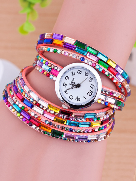 Multi-Color Leather Band Rhinestone Beaded Bracelet Quartz Watch