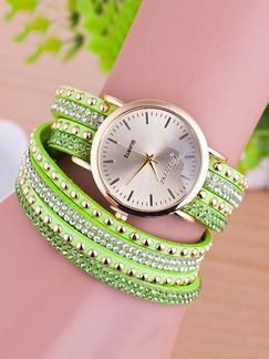 Pasabuy Green Leather Band Rhinestone Beaded Bracelet Quartz Watch