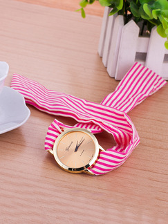 Pink and White Nylon Band Quartz Watch