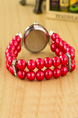 Red Pearl Band Rhinestone Pearl Bracelet Quartz Watch