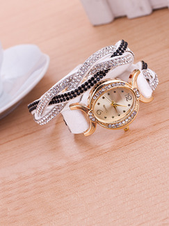 White and Black Leather Band Rhinestone Beaded Bracelet Quartz Watch