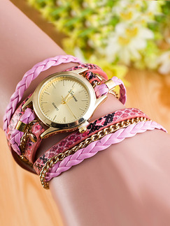 Gold and Pink Leather Band Bracelet Quartz Watch