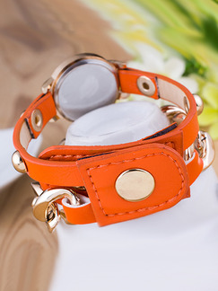 Orange and Gold Stainless Steel Band Bead Bracelet Quartz Watch