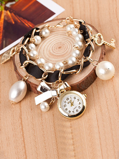 Gold and Black Pearl Band Pearl Bracelet Quartz Watch