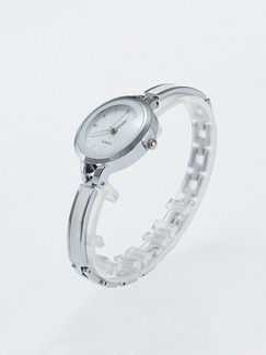 Silver and White Silver Plated Band Bracelet Quartz Watch
