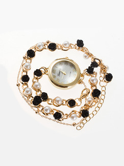 Gold and Black Stainless Steel Band Pearl Bracelet Quartz Watch