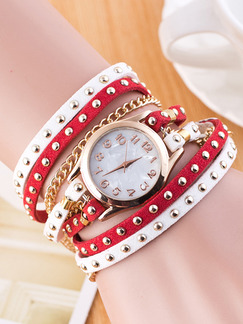 Red and White Leather Band Beaded Quartz Watch