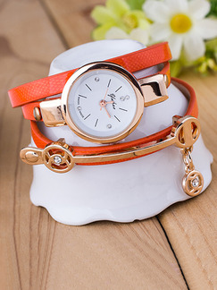 Orange Leather Band Rhinestone Bracelet Quartz Watch