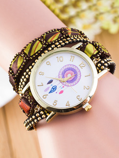 Multi-Color Leather Band Bracelet Quartz Watch