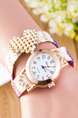 Multi-Color Nylon Band Pearl Rhinestone Bracelet  Quartz Watch