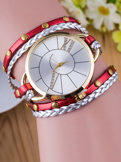 Red and Silver Leather Band Rhinestone Bracelet Quartz Watch
