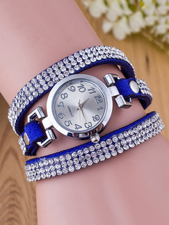 Blue Leather Band Rhinestone Bracelet Quartz Watch