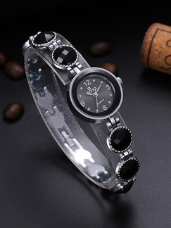 Silver and Black Ceramic Band Beaded Bracelet Quartz Watch