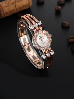 Bronze Bronze Plated Band Rhinestone Bangle Quartz Watch