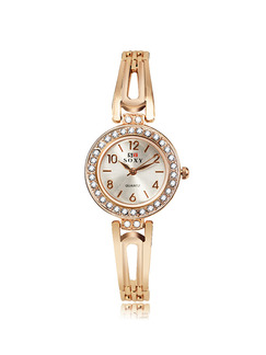 Gold Gold Plated Band Bangle Rhinestone Quartz Watch