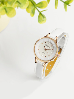 White Leather Band Beaded Quartz Watch