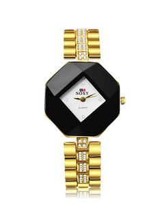 Gold Gold Plated Band Rhinestone Bracelet Quartz Watch