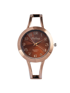 Bronze Bronze Plated Band Bangle Quartz Watch