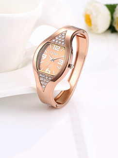 Bronze Bronze Plated Band Bangle Rhinestone Quartz Watch