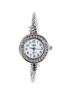 Silver Silver Plated Band Bangle Rhinestone Quartz Watch
