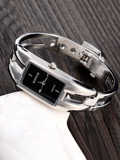 Silver Silver Plated Band Bangle Quartz Watch