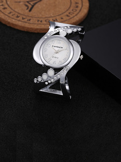 Silver and White Silver Plated Band Bangle Rhinestone Quartz Watch