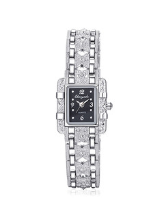 Silver Silver Plated Band Bracelet Rhinestone Quartz Watch