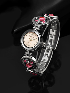 Silver and Pink Silver Plated Band Bracelet Rhinestone Quartz Watch