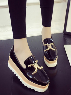 Black White Brown Patent Leather Round Toe Platform Wedges