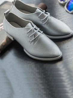 Grey Leather Pointed Toe Chunky Heel Low Heel Heels