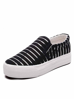 Black and White Canvas Round Toe Rubber Shoes