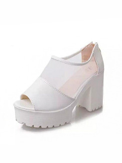 White Leather Peep Toe Platform Chunky Heel High Heel 9cm Heels