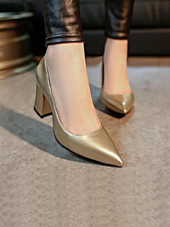 Gold Leather Pointed Toe Chunky Heel High Heel 7cm Heels