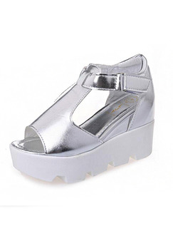 Silver and White Patent Leather Open Toe Ankle Strap Wedges