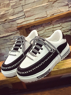 White and Black Canvas Round Toe Lace Up Rubber Shoes