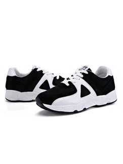 White and Black Canvas Pointed Toe Lace Up Rubber Shoes