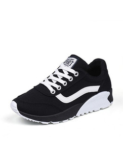 Black and White Canvas Pointed Toe Lace Up Rubber Shoes
