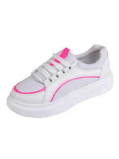 White and Pink Leather Round Toe Lace Up Rubber Shoes