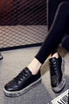 Black and Silver  Leather Round Toe Lace Up Rubber Shoes