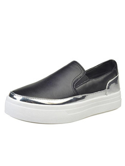 Black Silver and White Leather Round Toe Rubber Shoes