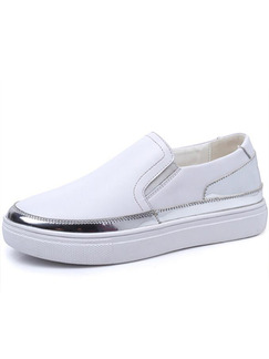 White and Silver Leather Round Toe Rubber Shoes