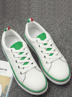 White and Green  Leather Round Toe Lace Up Rubber Shoes