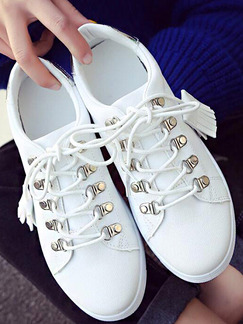 White and Silver  Leather Round Toe Lace Up Rubber Shoes